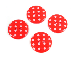 Red White Acrylic Spotty Buttons