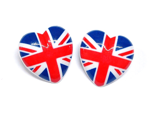 Union Jack Heart Buttons