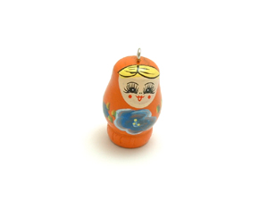 Wooden Doll Pendant Orange