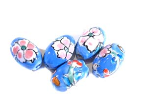 5 Blue Flower Pottery Beads